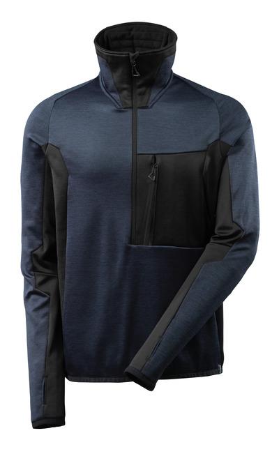 MASCOT® ADVANCED - Marine foncé/Noir - Pull en polaire avec fermeture zippée courte, coupe moderne