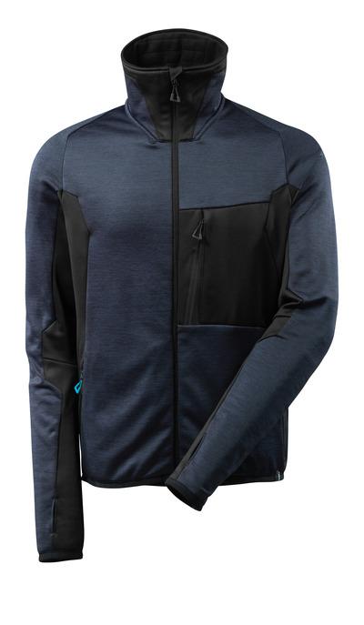 MASCOT® ADVANCED - Marine foncé/Noir - Pull en polaire avec fermeture zippée, coupe moderne