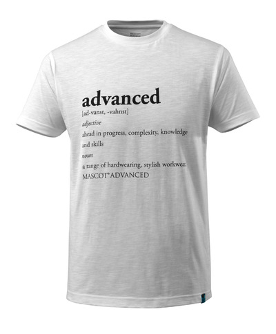 MASCOT® ADVANCED - Blanc - T-shirt avec Texte ADVANCED, coupe moderne