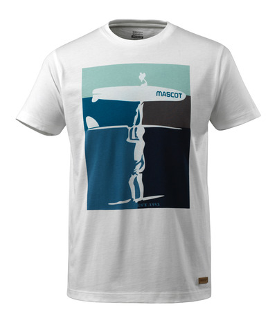 MASCOT® ADVANCED - Blanc - T-shirt avec Motif surf, coupe moderne