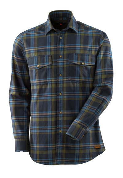 MASCOT® ADVANCED - Marine foncé/Bleu-gris - Chemise Flanelle à gros carreaux.