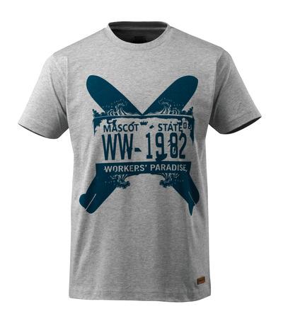 MASCOT® ADVANCED - Gris chiné - T-shirt avec deux planches de surf, coupe moderne