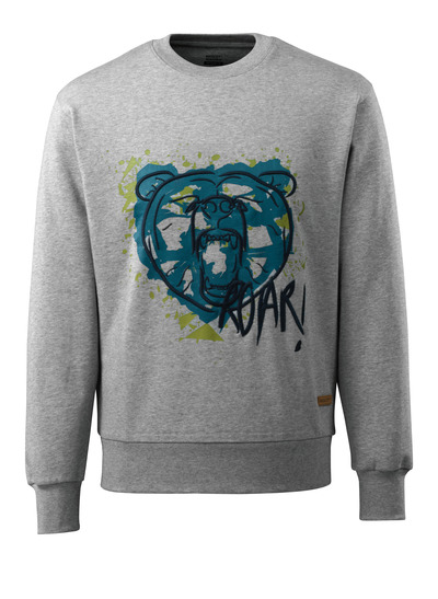 MASCOT® ADVANCED - Gris chiné - Sweatshirt avec tête d'ours, coupe moderne