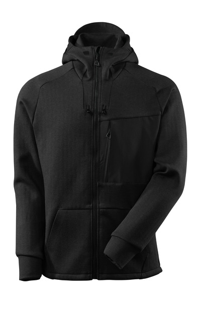 MASCOT® ADVANCED - Noir chiné/Noir - Sweat capuche avec fermeture zippée, coupe moderne