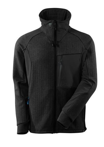 MASCOT® ADVANCED - Noir chiné/Noir - Sweatshirt avec fermeture zippée, col haut, coupe moderne