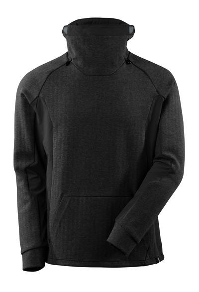 MASCOT® ADVANCED - Noir chiné/Noir - Sweatshirt, col haut réglable, coupe moderne