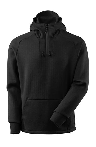 MASCOT® ADVANCED - Noir chiné/Noir - Sweat capuche avec fermeture zippée courte, coupe moderne