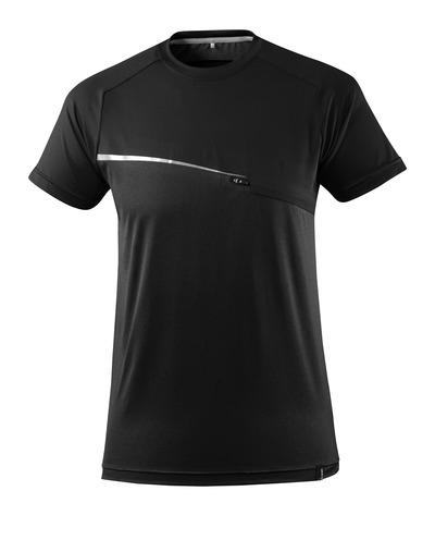 MASCOT® ADVANCED - Noir - T-shirt évacuant l'humidité, poche frontale, coupe moderne