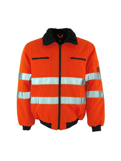 MASCOT® Alaska - Hi-vis orange - Veste pilote avec doublure en fourrure synthétique, hydrofuge, classe 3