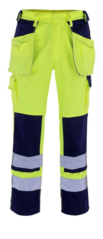 MASCOT® Almas - Hi-vis jaune/Marine - Pantalon avec poches genouillères et poches flottantes, classe 2