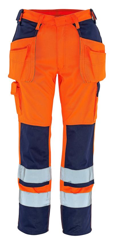 MASCOT® Almas - Hi-vis orange/Marine - Pantalon avec poches genouillères et poches flottantes, classe 2