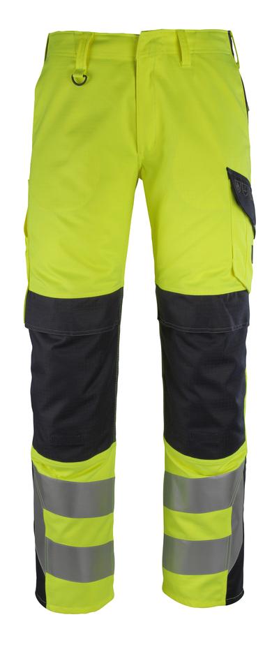 MASCOT® Arbon - Hi-vis jaune/Marine foncé - Pantalon avec poches genouillères, multiprotection, classe 2