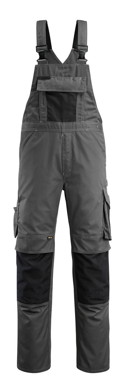 MASCOT® Augsburg - Anthracite foncé/Noir - Salopette avec poches genouillères, poids léger