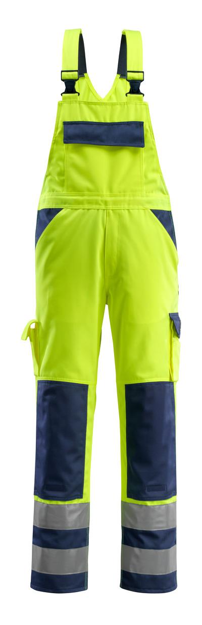 MASCOT® Barras - Hi-vis jaune/Marine - Salopette avec poches genouillères, classe 2