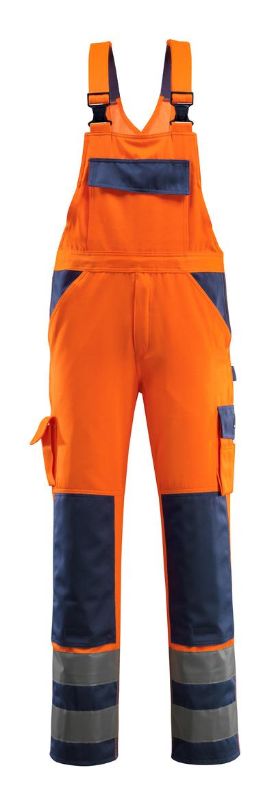 MASCOT® Barras - Hi-vis orange/Marine - Salopette avec poches genouillères, classe 2
