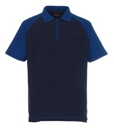 MASCOT® Bianco - Marine/Bleu roi - Polo zippé, coupe classique, poche poitrine