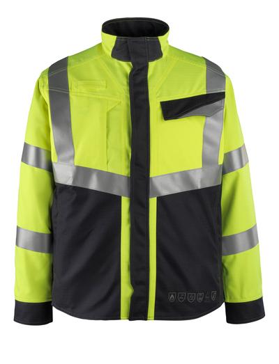 MASCOT® Biel - Hi-vis jaune/Marine foncé - Veste, multiprotection, classe 2