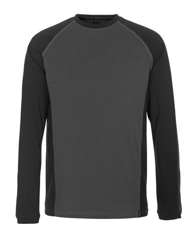 MASCOT® Bielefeld - Anthracite foncé/Noir - T-shirt, manches longues, coupe moderne