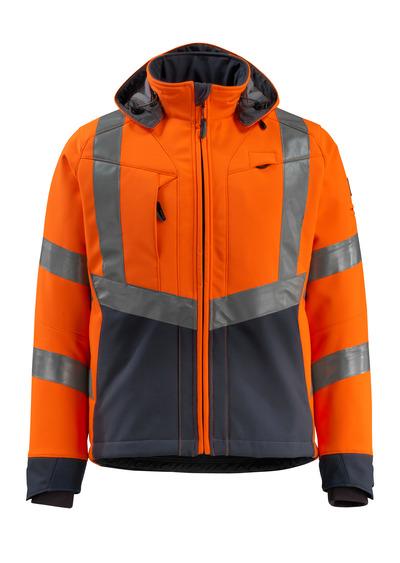 MASCOT® Blackpool - Hi-vis orange/Marine foncé - Veste softshell avec polaire à l'intérieur, déperlant, classe 3