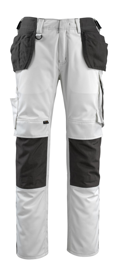 MASCOT® Bremen - Blanc/Anthracite foncé - Pantalon avec poches genouillères et poches flottantes en CORDURA®, haute solidité