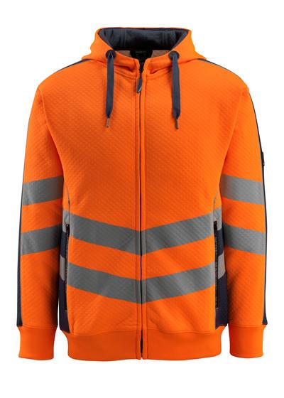 MASCOT® Corby - Hi-vis orange/Marine foncé - Sweat capuche, texture gaufrée, coupe moderne