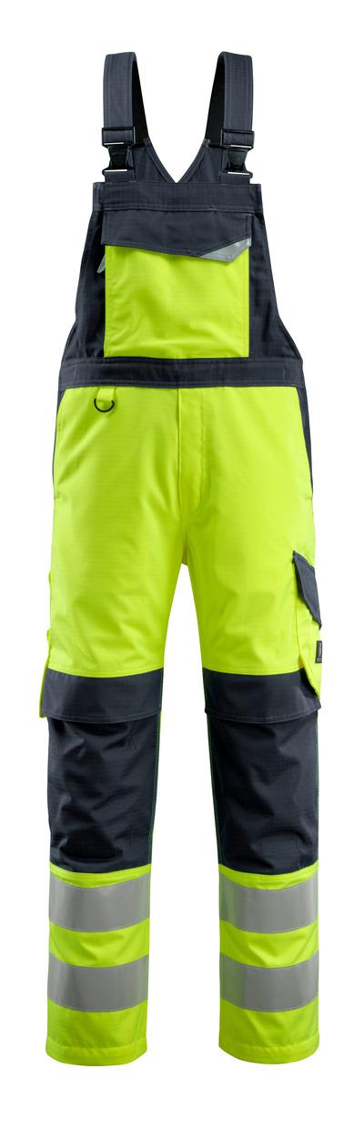 MASCOT® Davos - Hi-vis jaune/Marine foncé - Salopette avec poches genouillères, multiprotection, classe 2