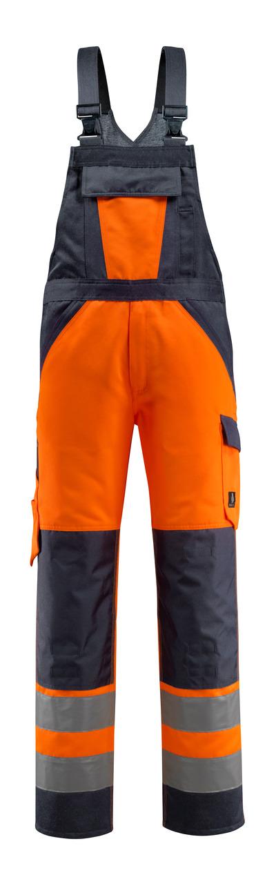MASCOT® Gosford - Hi-vis orange/Marine foncé - Salopette avec poches genouillères, classe 2