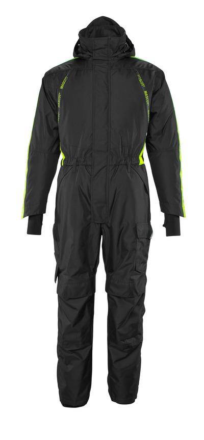 MASCOT® HARDWEAR - Noir/Hi-vis jaune  - Combinaison grand froid avec doublure matelassée et poches genouillères, imperméable, poids léger