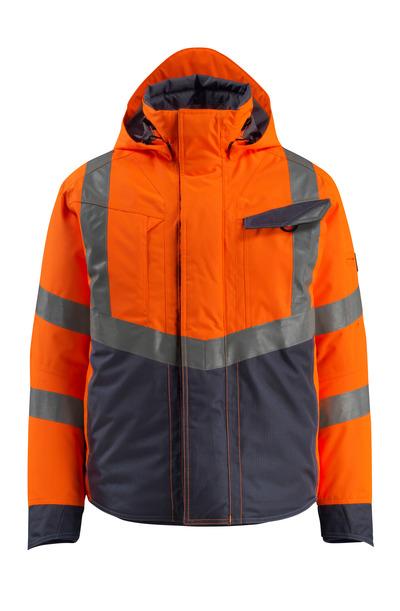 MASCOT® Hastings - Hi-vis orange/Marine foncé - Veste d'hiver, ouaté, imperméable, classe 3