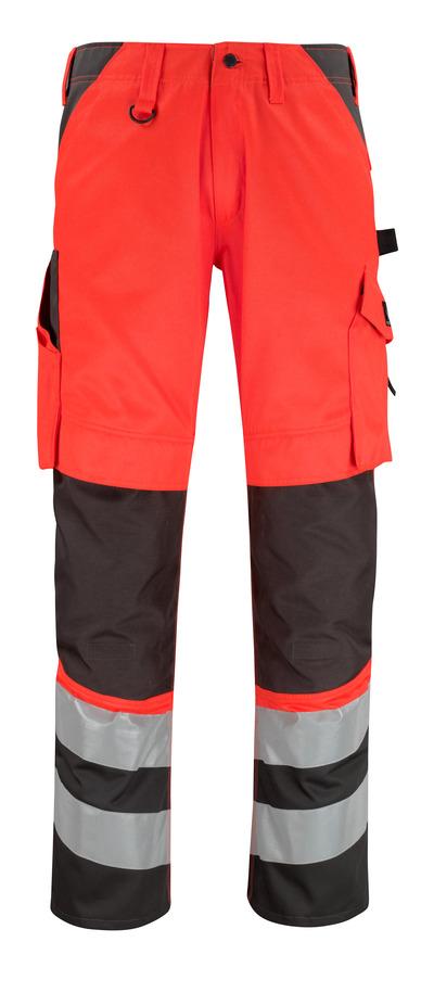 MASCOT® Horta - Hi-vis rouge/Anthracite foncé* - Pantalon avec poches genouillères