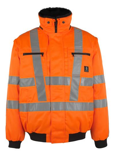 MASCOT® Innsbruck - Hi-vis orange - Veste pilote avec doublure en fourrure synthétique amovible, hydrofuge, classe 3