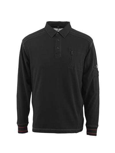 MASCOT® Ios - Noir - Sweatshirt polo avec poche poitrine, coupe moderne
