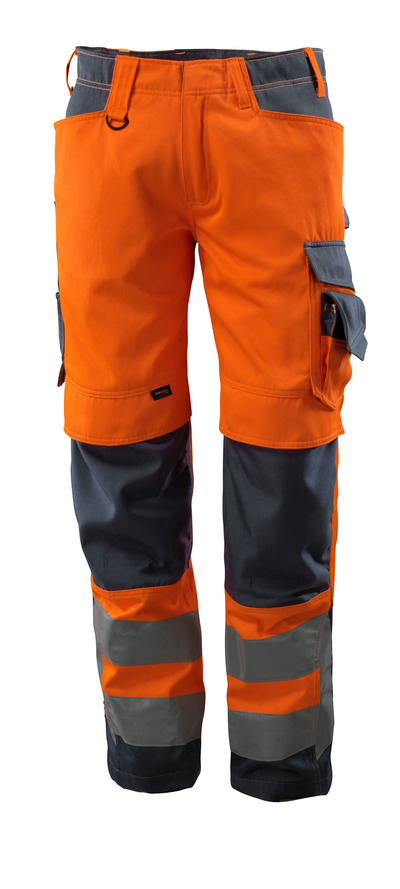 MASCOT® Kendal - Hi-vis orange/Marine foncé - Pantalon avec poches genouillères en CORDURA®, classe 2