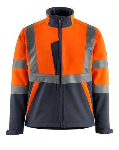 MASCOT® Kiama - Hi-vis orange/Marine foncé - Veste softshell avec polaire à l'intérieur, classe 2