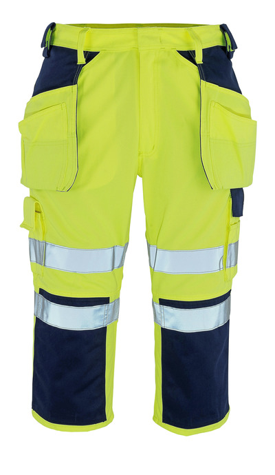 MASCOT® Lagarto - Hi-vis jaune/Marine* - Pantacourt avec poches genouillères et poches flottantes