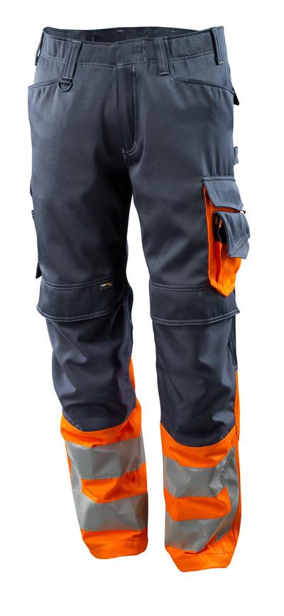 MASCOT® Leeds - Marine foncé/Hi-vis orange - Pantalon avec poches genouillères en CORDURA®, classe 1