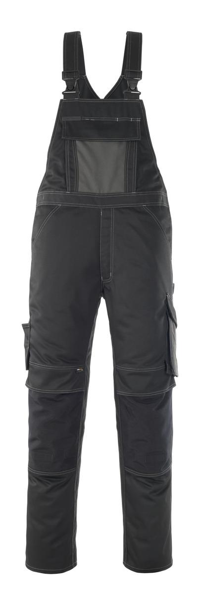 MASCOT® Leipzig - Noir/Anthracite foncé - Salopette avec poches genouillères, haute solidité