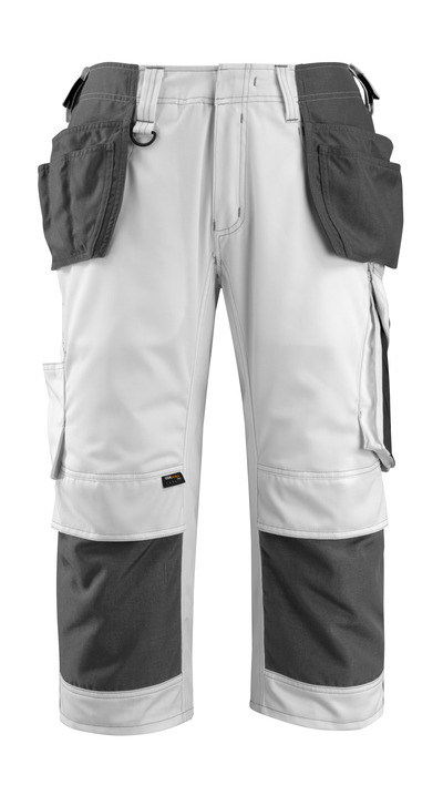 MASCOT® Lindau - Blanc/Anthracite foncé - Pantacourt avec poches genouillères en CORDURA® et poches flottantes, haute solidité
