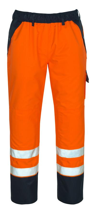 MASCOT® Linz - Hi-vis orange/Marine - Surpantalon avec poches genouillères, en MASCOTEX®imperméable, classe 1/2