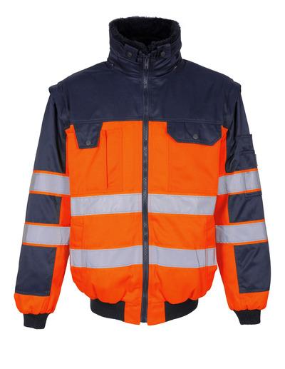 MASCOT® Livigno - Hi-vis orange/Marine - Veste pilote avec doublure en fourrure synthétique amovible, hydrofuge, classe 2
