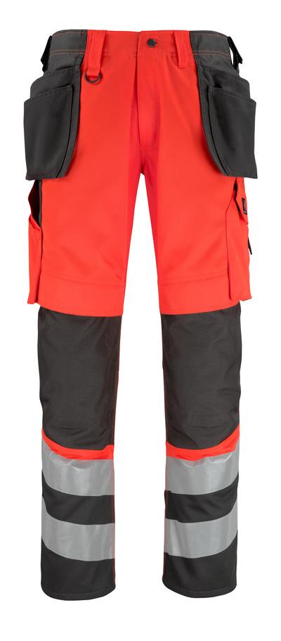 MASCOT® Lixa - Hi-vis rouge/Anthracite foncé* - Pantalon avec poches genouillères et poches flottantes