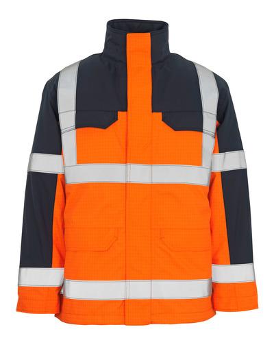 MASCOT® Lungern - Hi-vis orange/Marine* - Parka avec doublure matelassée amovible, imperméable, multiprotection, classe 3/2