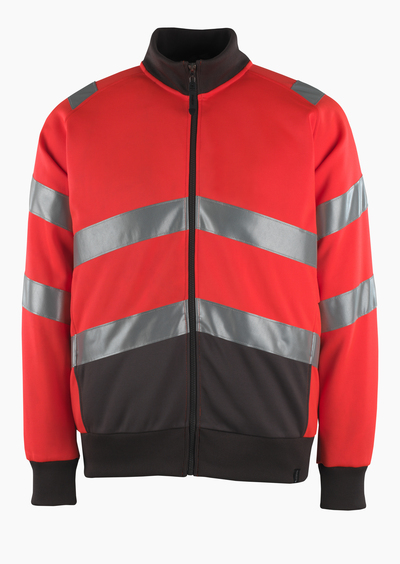MASCOT® Maia - Hi-vis rouge/Anthracite foncé* - Sweatshirt zippé, coupe moderne, classe 2