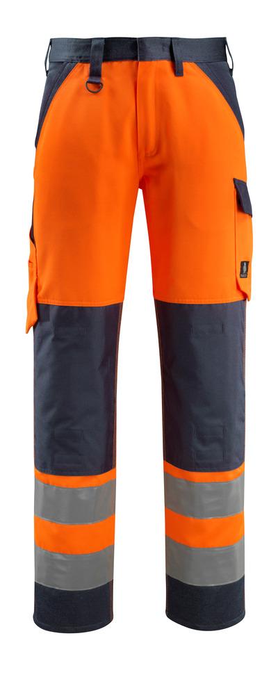 MASCOT® Maitland - Hi-vis orange/Marine foncé - Pantalon avec poches genouillères, classe 2