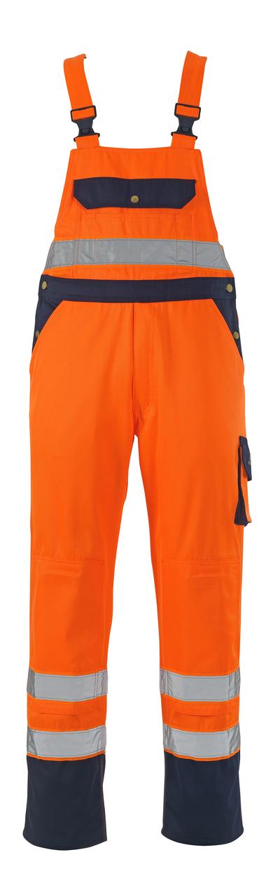 MASCOT® Milano - Hi-vis orange/Marine* - Salopette avec poches genouillères, classe 2/2