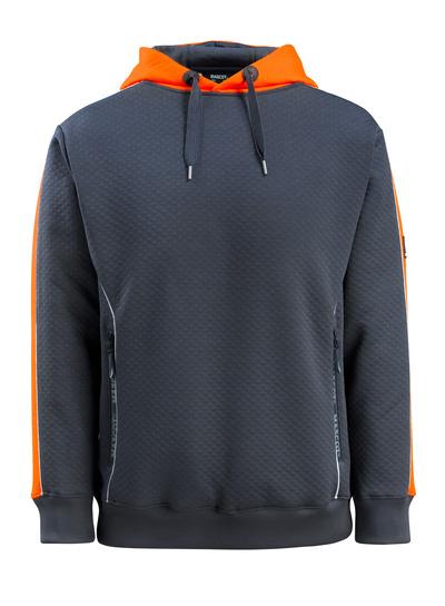 MASCOT® Motril - Marine foncé/Hi-vis orange - Sweat capuche avec contrasts réfléchissants, texture gaufrée, coupe moderne