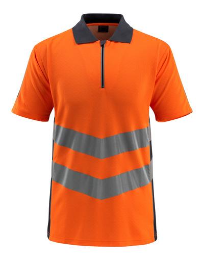 MASCOT® Murton - Hi-vis orange/Marine foncé - Polo zippé, coupe moderne, classe 2