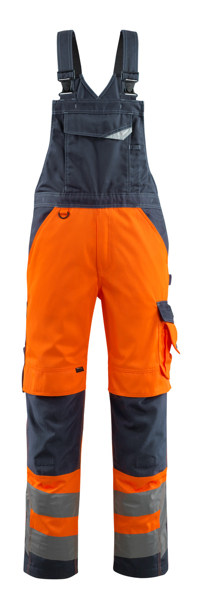 MASCOT® Newcastle - Hi-vis orange/Marine foncé - Salopette avec poches genouillères, classe 2