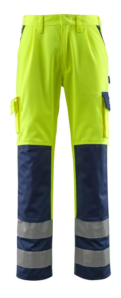 MASCOT® Olinda - Hi-vis jaune/Marine - Pantalon avec poches genouillères, classe 2