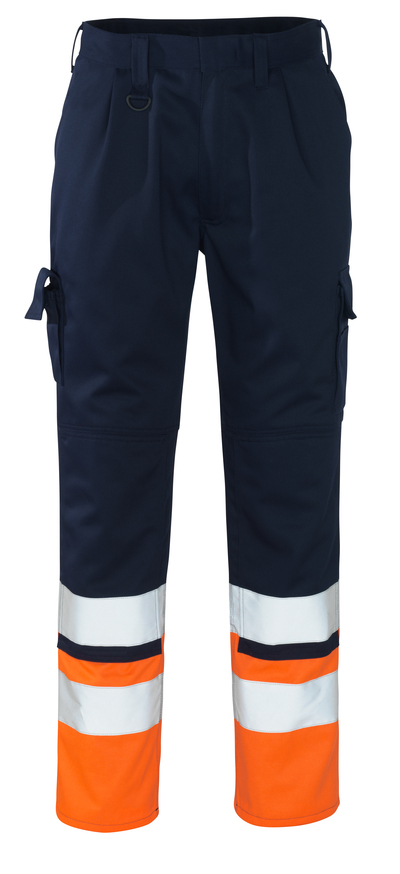 MASCOT® Patos - Marine/Hi-vis orange - Pantalon avec poches genouillères, classe 1